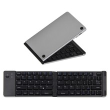 F66 Universal Bluetooth 3.0 Wireless Keyboard Foldable Aluminum Alloy mini Portable keyboard For IPhone iPad iOS Android Phone