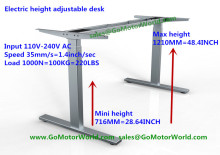 Electric desk mini height 716mm max height 1210mm 35mm/s speed 110V-240V 1000N 100KG 220LBS lift