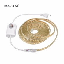 Dimmable LED Strip 220V Waterproof  2835 120LEDs/m Outdoor LED Tape light String Brighter Than 5050 with EU Power Supply Dimmer