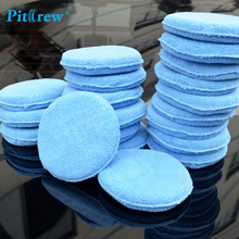 "(10pieces/lot) Car washer Blue Microfiber Wax Applicator Polishing Sponges pads 5"" Diameter Sponges Car &Motorcycles Accessories"