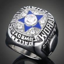 popular big blue pentagram Silver plated white crystal USA fan lover NFL champion christmas dallas cowboys jerseys for men ring