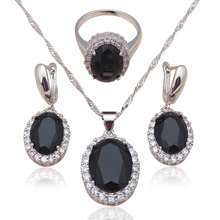 Black Zirconia Inlay Silver Stamped Cool Fashion Jewelry Set for women Black Onyx Necklace Earrings Ring sz #6#7#8#9#10 JS584A