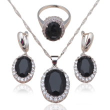 Black Zirconia Inlay Silver Stamped Cool Fashion Jewelry Set for women Black Onyx Necklace Earrings Ring sz #6#7#8#9#10 JS584A(China)