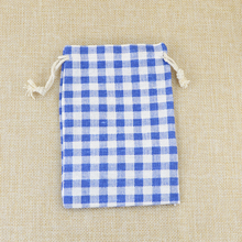 Cotton Pouch Bag 50pcs/lot 10x14cm Blue Grids Design Bracelet Jewelry Packaging Bag Cute Cotton Storage Drawstring Gift Bags