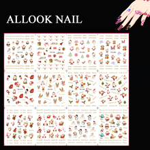 Nail Decal (Large Piece YB277-288 12 DESIGNS IN 1)Noel Red Santa Claus Christmas Nail Art Water Transfer Sticker For Nail