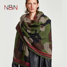 NN Winter Scarf Women Thick Warm Cashmere Camouflage Printed Scarves Luxury Brand Freedom Fashion Shawls And Capes NN-CS-043(China)