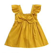 2017 Adorable Kids Infant Baby Girl Sleeveless Princess Party Prom Dress Clothes Toddler Girls Bow Tutu Beach Summer Dress