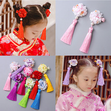 2PCS/Lot Chinese Princess Colorful Simulation Flower Long Tassels Headbands Hair Clips Girls Hair Ornament Cute Hair Accessories(China)