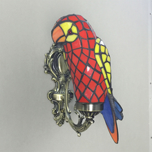 Vintage tiffany parrot bird colorful glass E14 bulb wall sconce lamp home deco bedroom novelty unique bronze wall light fixture