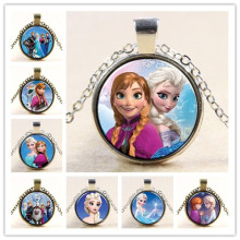 Princess ELSA Anna Silver Coated Glass Pendant Necklace