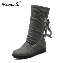 EISWELT Women Winter Boots PU Leather Boots Women Mid Calf Boots Warm Plush Boots Ladies Fashion Boots Plus Size#ZQS180