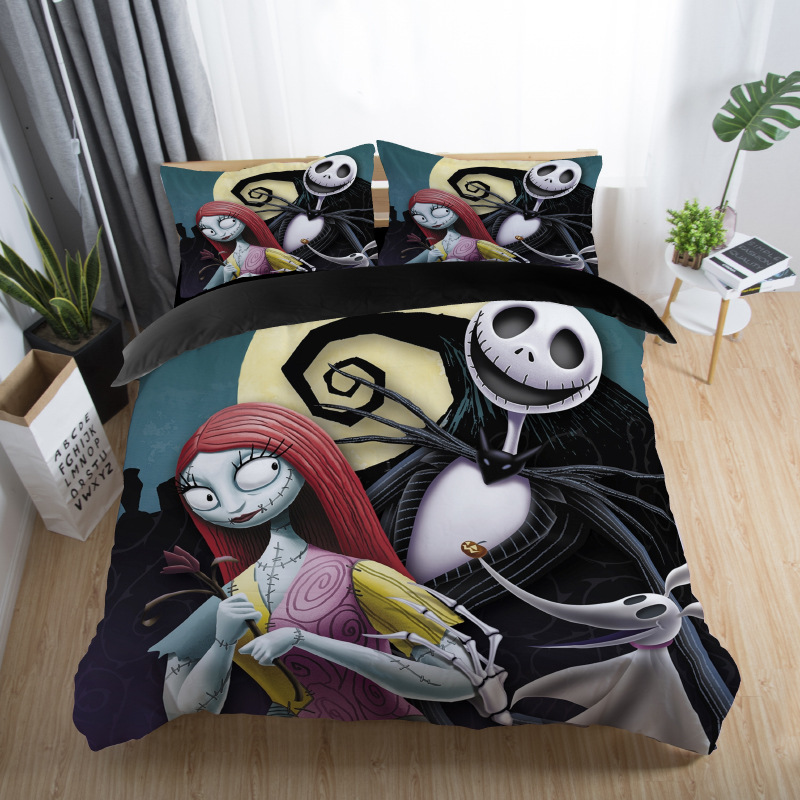 skull couples bedding set skull bed set 3D Nightmare Before Christmas Duvet Cover Jack and Sally Valentine`s Day Rose Decor 5 (8)
