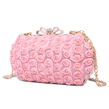 Pink Flowers Chain Evening Bags Women Hasp Handbags And Purse Party Wedding Dinner Ladies Clutch Fashion Shoulder Crossbody Bags
