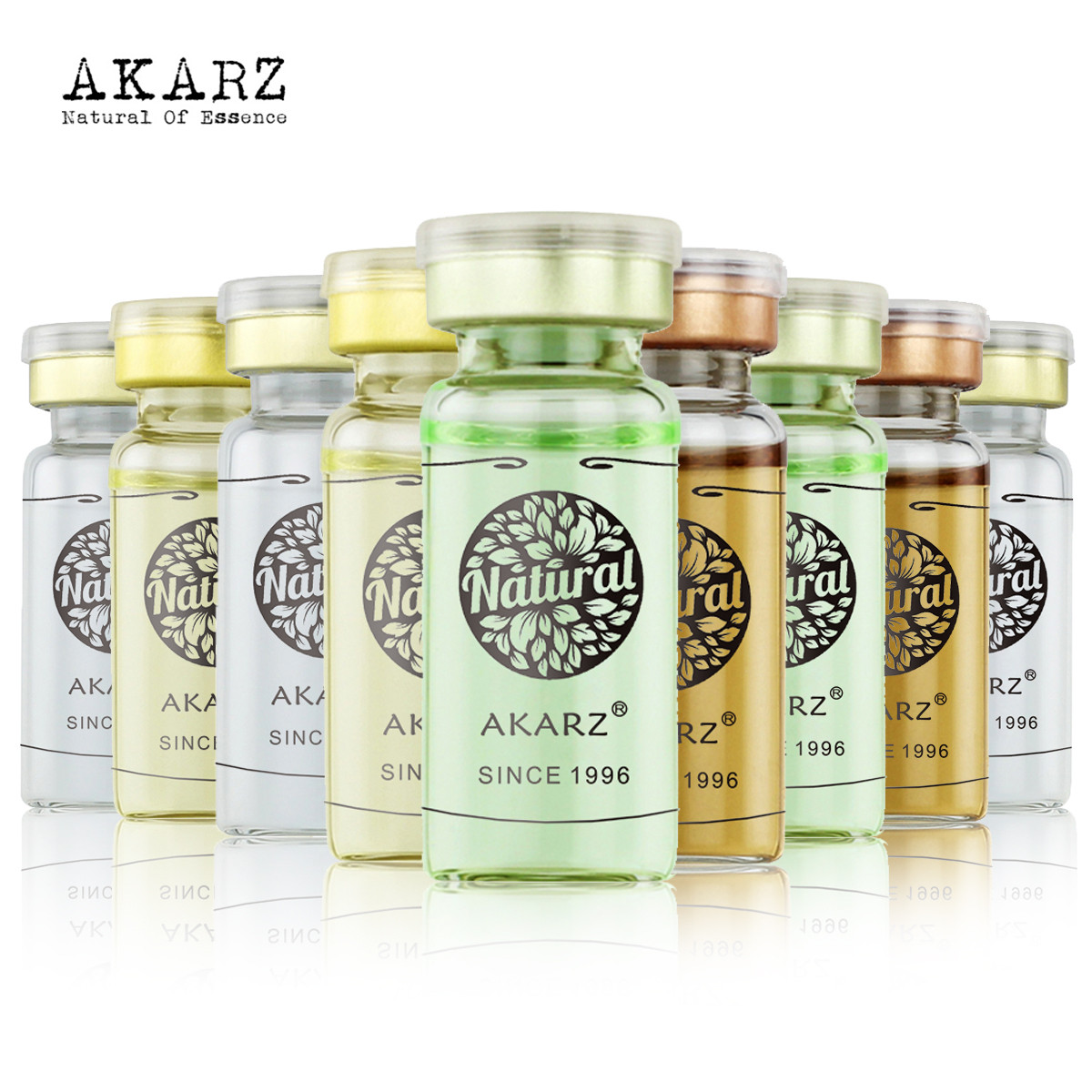 AKARZ Famous brand 100% vitamin c Hyaluronic acid Collagen Placenta Snail arbutin Aloe Cactus cucmber acid face make up10ml*9<br>