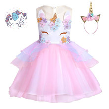 TEAEGG Girls Instagram Hot Unicorn Party Dress New Designer Children Prom  Ceremonies Gowns Tutu Fluffy Birthday e2af28b3a567