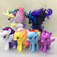 6pcs/set Rainbow horse little pvc ponies action figures toy doll for my baby Christmas gift