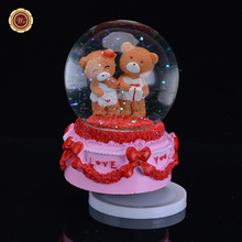 WR Brown Bear Music Box 18 Tones Crystal Ball Music Box Crystal Glass Snow Globe Ball Snowflake Best Gift Free Shipping