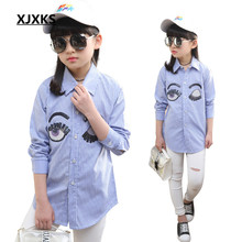 Girls Shirt Cute Fashion Light Blue Striped Tops Cotton Turn Down Collar Girl Blouse For 5-14 Years 03017