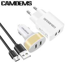 CAMDEMS 2A EU wall Charger Mobile Phone Charger Micro Data USB Cable dual Car Charger for Samsung Huawei android Tablet PC MP3(China)