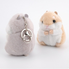 Fashion Cartoon Hamster Plush Doll Key Chain Silver Ring Woman Bag Charms Pom Pom Keychain Mouse Animal Toy Party Gift Trinket(China)
