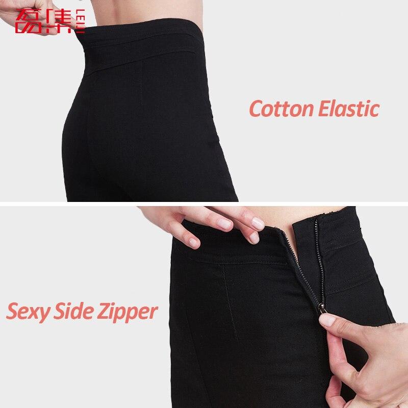 Leiji Autumn Style 40-120KG Available Plus Size Women Side Zipper Legging Jeans High Waist Elastic Skinny Jeans Pencil Pants