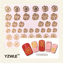 YZWLE 1 Sheet 2017 New Styles Gold Flower  Nail Art Decals Beautiful 3D Nail Sticker