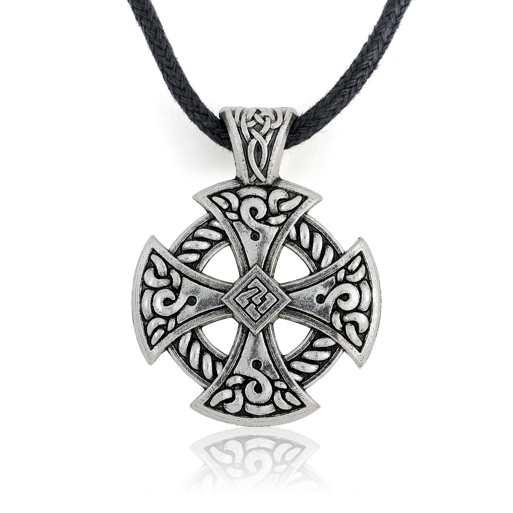 Lemegeton Vintage Style Antique Silver Color Pendant Circle knot Hammer Pagan Traditions Adjustable Rope Chain Men Necklace