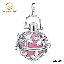H229-20 Women Silver Plated  Flower Cage Pendants with Harmony Ball pendant Bell Mexican prenatal ball Colgante Pendentif Chime