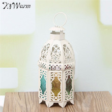 KiWarm Retro White Glass Iron Moroccan Garden House Candle Holder Hanging Lantern for Home Birthday Wedding Party Decor Gift