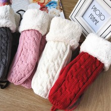 Women Winter Dpuble Layer Thick Cashmere Wool Adult Warm Knit Twist Full Finger Gloves Soft Lady Fur Mittens With Long Rope Hot(China)