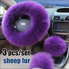 100% pure wool steering wheel cover winter wool sets long haired female leather steering wheel cover sets