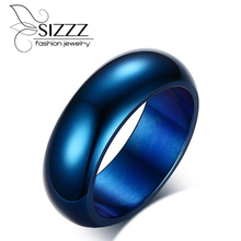 SIZZZ New 316L Stainless titanium steel Men's Ring Classic Blue Designs Attending cocktail ring Jewelry(China)