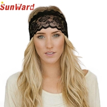 Stylish high quality Wide Women Black White   Sport exercise Elastic Hair Band Vintage Lace Decoration Headband for lady