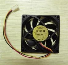 Free shipping 1pcs Two Ball Bearing Style 12V 7CM 70MM 7015 3Pin Cooling Cooler Fan