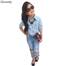 Niosung 1Set Cool Kids Baby Girls Long Sleeve Denim T-Shirt Tops+Trousers Clothes Outfits Children Bebe Princess Clothing Suit v