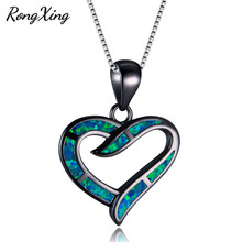 RongXing 925 Sterling Silver White/Blue Fire Opal Heart Pendants Necklaces For Women Fashion Black Gold Filled Jewelry NL0133(China)