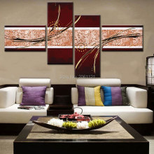 hand made modular wall painting abstract brown canvas painting sorrel wall pictures for living room decoration 4 combination