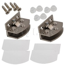 BQLZR Glass Door Clamp Hinge for Bathroom Cabinet Cupboard Glass Door Pack of 2