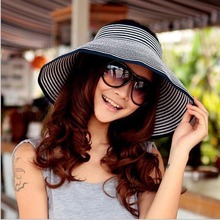 Fashion Women Summer Cool Folding UV Straw Hat Beach Sunscreen Cap Easy Fold Empty Top Rattan Plaited Hat 10 Colors