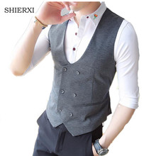 Mens Double Breasted Vest Men Dress Suit Vest Men Formal Vest Suit Gilet Vest Slim Business Jacket Tops homme(China)