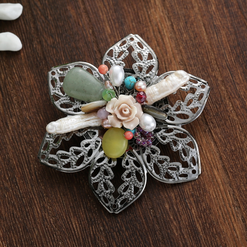 TDQUEEN Brooches for Women Natural Freshwater Pearl Brooch Antique Silver Plated Baroque Flower Big Pins and Brooches 1