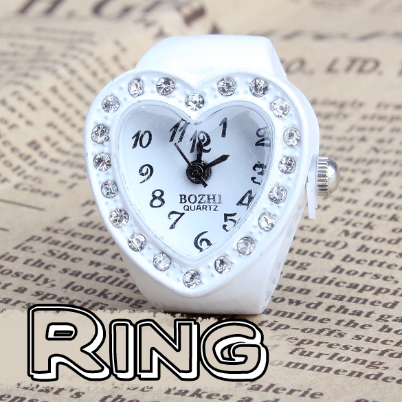 New Heart Type Girls Manmade Stone Diamond Jewellery Finger Ring Watch HB88<br><br>Aliexpress
