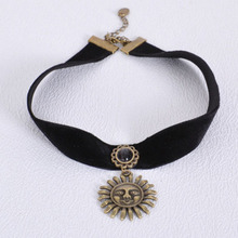 2015 New Gothic Velvet Ribbon Necklace Lace Collar Sunflower Wedding Bride Female Imitation Gemstone Pendant Necklace Wholesale(China)