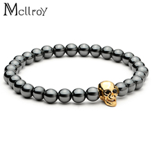 Mcllroy Black Hematite Stone Bead Bracelet Male Skull Charms Bracelet & Bangle Men Bijoux Nature Stone Bracelets men jewelry