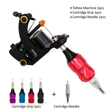 tattoo coil machine shader machine with tattoo cartridge grip cartridge needle