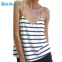 Hot marketing Sexy Women Backless T-Shirt Loose Sleeveless Blouse Striped Tank Tops  Ap13 Drop Shipping