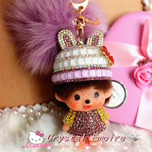 New Monchhichi Baseball Cup Hat Crystal Kiki 18K Gold Plated Rabbit Fur Car Keychain Key Ring Pendant Auto Interior Accesories