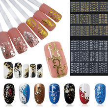 12Pc/Set Pro 3D DIY Metallic Beauty Gold Silver 3D Nail Art Stickers Decals Flower Manicure Decoration Tools(China)