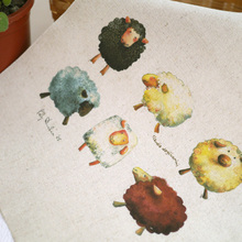 Hand dyed cotton linen/canvas fabric dyeing cloth placemats handmade aprons mouse pads Patchwork 30X30cm sheep group