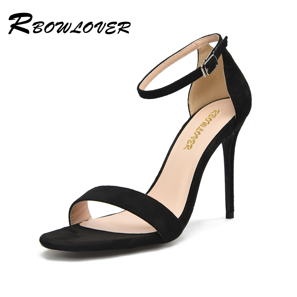 RBOWLOVER 2018 Hot Sale New Women Sandals Flock Material Ankle Straps Thin High Heels Sexy Pumps Shoes Big Size 43<br>